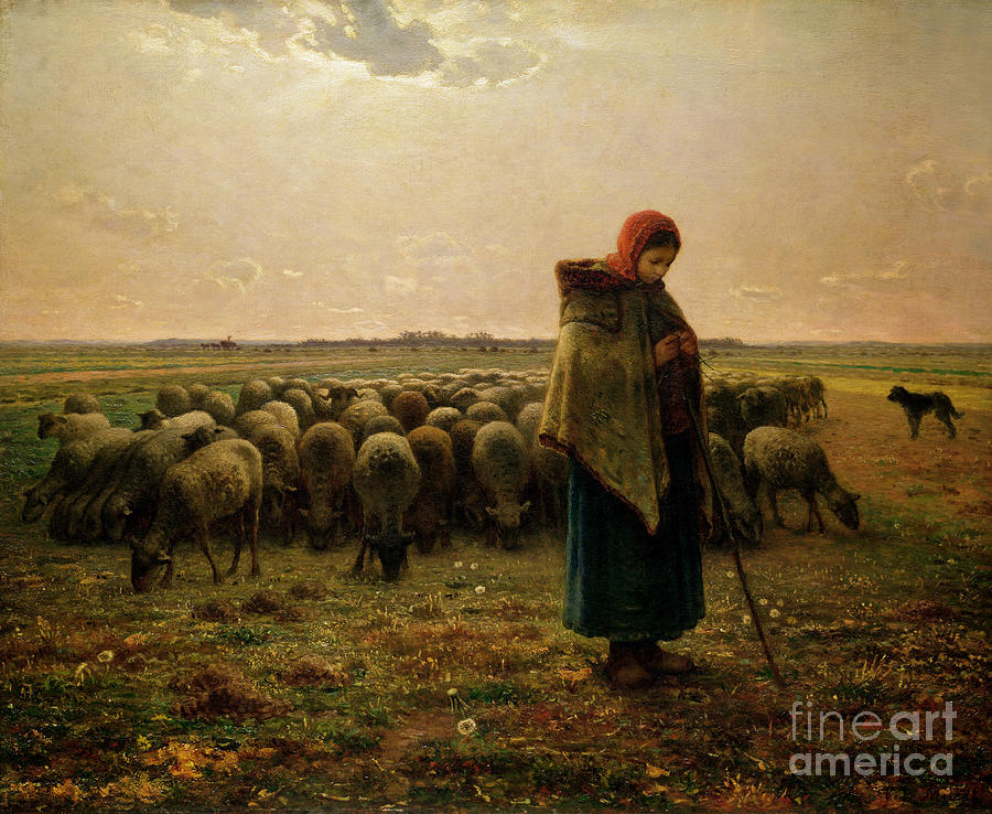 Shepherdess Painting - Shepherdess With Her Flock by Jean Francois Millet