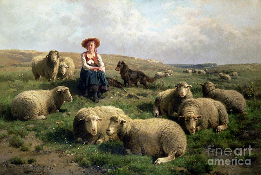 Ewe Painting - Shepherdess with Sheep in a Landscape by C Leemputten and T Gerard