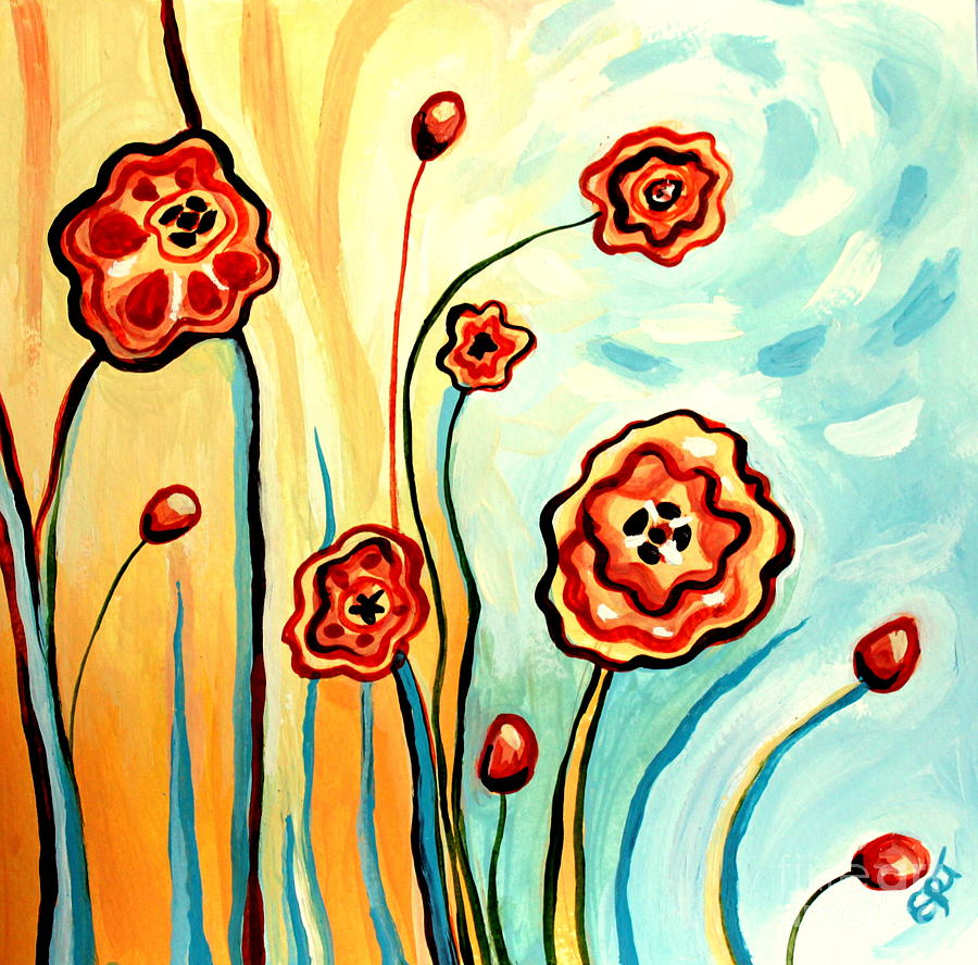 Floral Painting - Sherbert And Powder Blue Skies by Elizabeth Robinette Tyndall