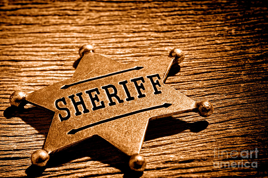 Sheriff Photograph - Sheriff Badge - Sepia by Olivier Le Queinec
