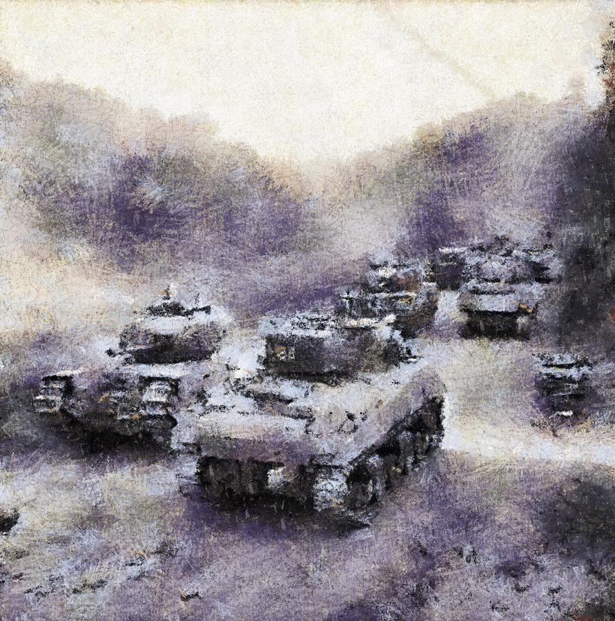 Sherman Tanks Pass A Column Of Churchills As They Advance Towards Vassy by  Esoterica Art Agency