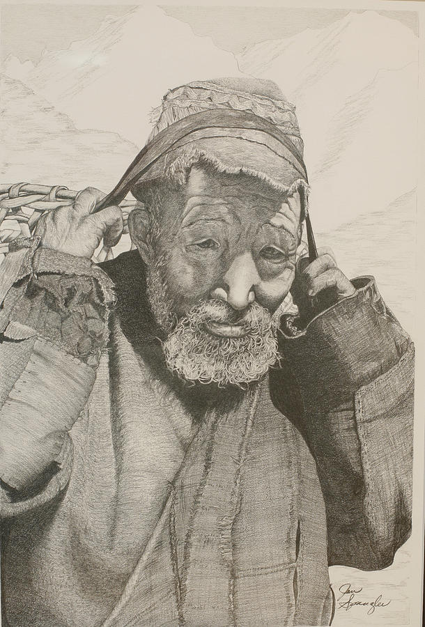 Graphite Painting - Sherpa. by Jan  Spangler