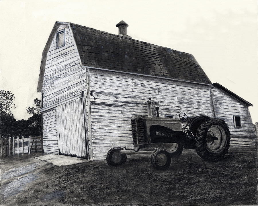 Drawing - Sherrys Barn by Bryan Baumeister
