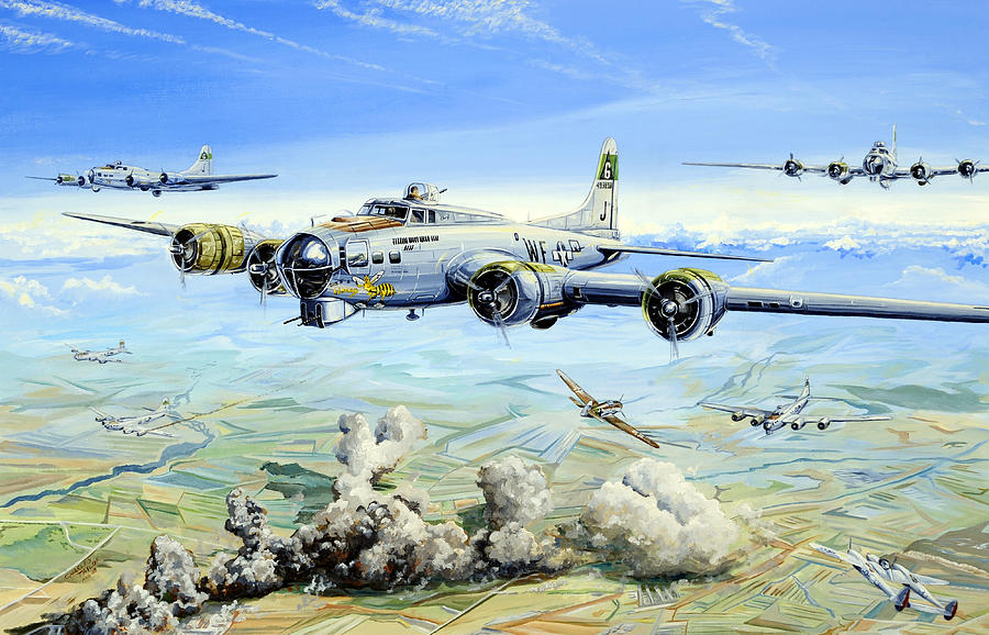 B-17 Painting - Shes A Honey 2 by Charles Taylor