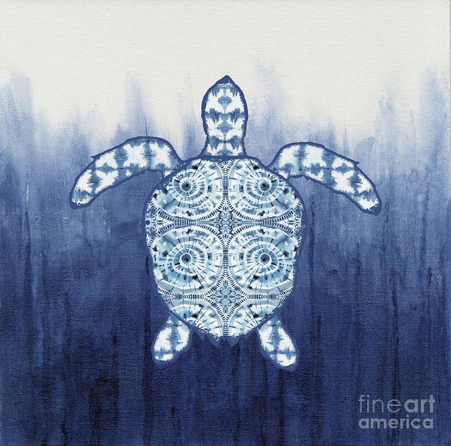 Shibori Blue 1 - Patterned Sea Turtle Over Indigo Ombre Wash