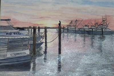 Boats Painting - Shimmer by Laurie Rawdon