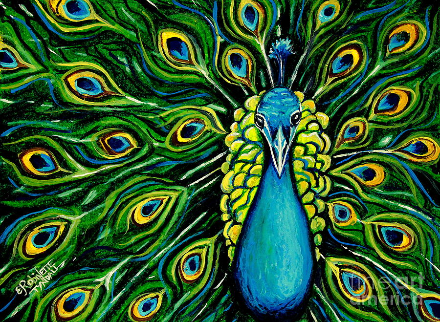 Peacock Painting - Shimmering Feathers Of A Peacock by Elizabeth Robinette Tyndall
