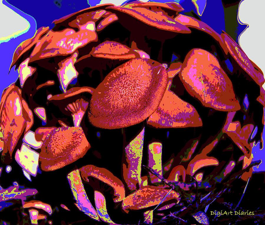 Mushrooms Digital Art - Shimmering Shrooms by DigiArt Diaries by Vicky B Fuller