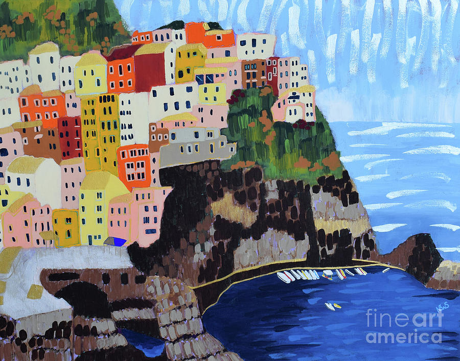 Cinque Terre Painting - Shine - Cinque Terre, Italy by Nicole Werner Stevens