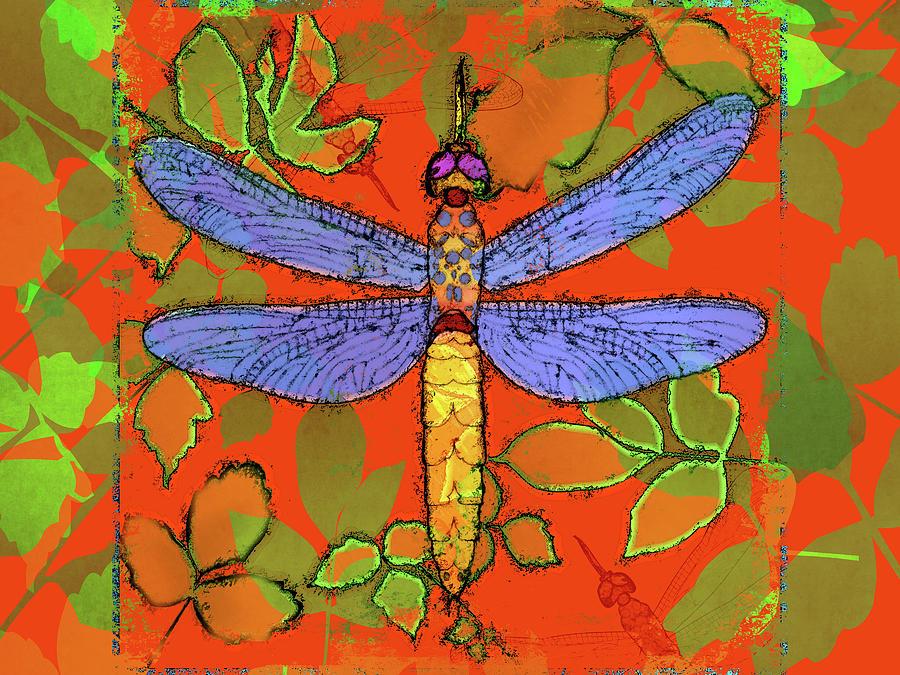 Dragonfly Digital Art - Shining Dragonfly by Mary Ogle