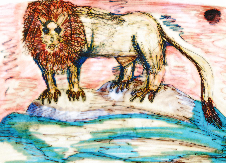 Lion Mixed Media - Shining Lion by Andrew Blitman