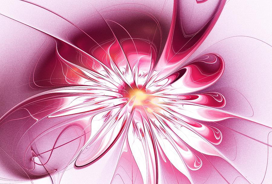 Shine Digital Art - Shining Pink Flower by Anastasiya Malakhova