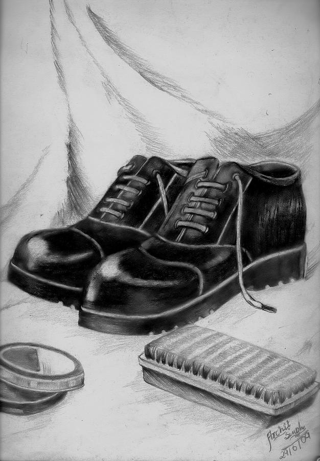 Shoe Drawing - Shining Shoes by Archit Singh