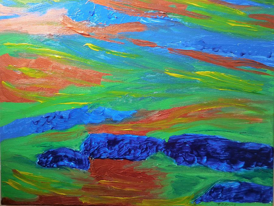 Abstract Painting - Shinning Sea by Tember Smith
