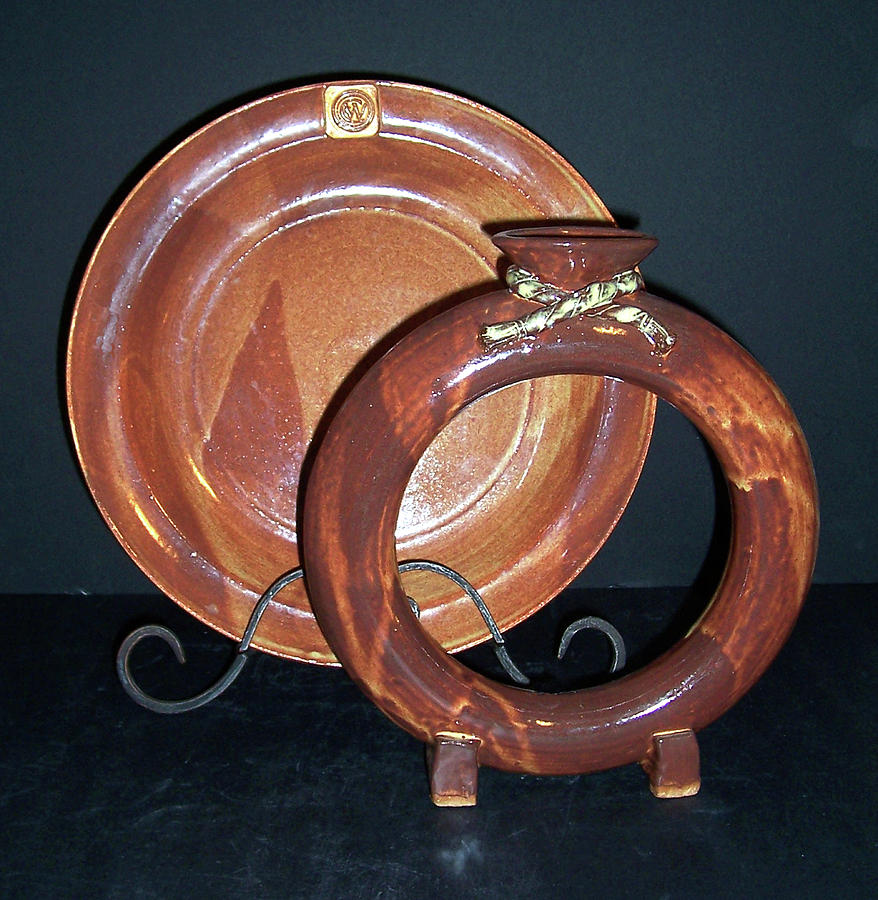 Plate Ceramic Art - Shino Glazed Ring Vase And Plate by Carolyn Coffey Wallace