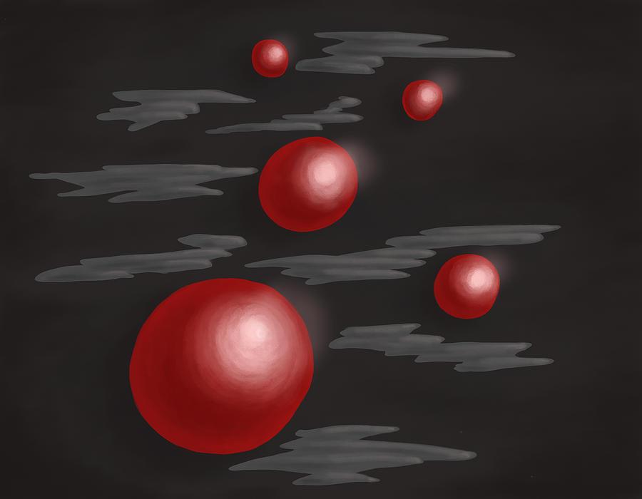 Planets Digital Art - Shiny Red Planets by Boriana Giormova