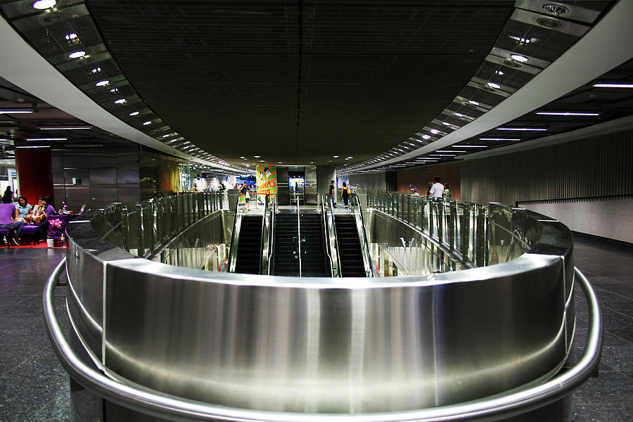 Chrome Photograph - Shiny Singapore Stainless Steel Underground Station by Jane McDougall
