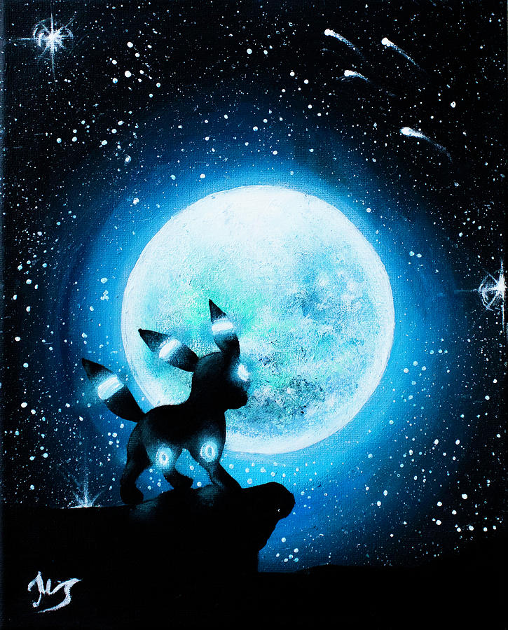 Umbreon Painting - Shiny Umbreon under the moon Painting by Magda Swinya