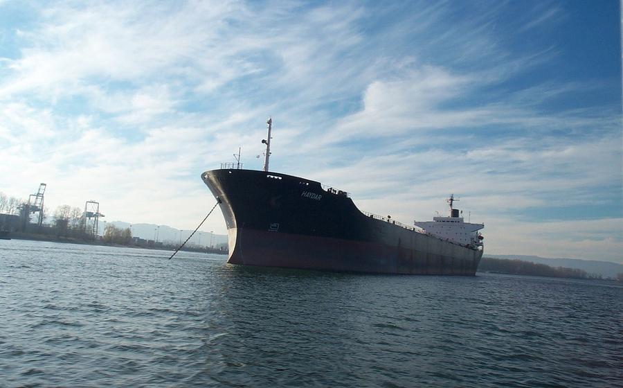 Ship Photograph - Ship At Anchor In The Columbia River by Alan Espasandin