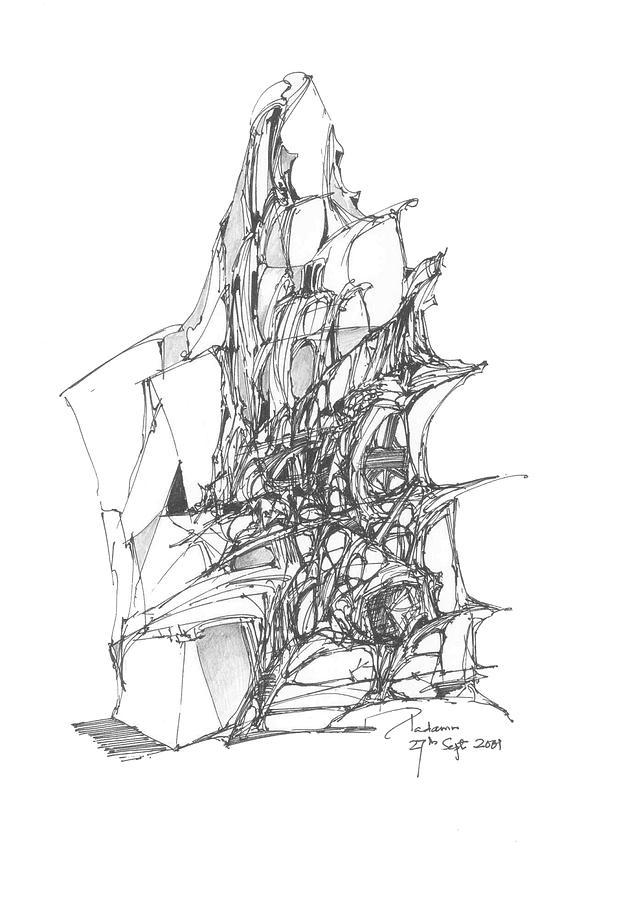 Landscape Drawing - Ship Embedded In Rocks by Padamvir Singh