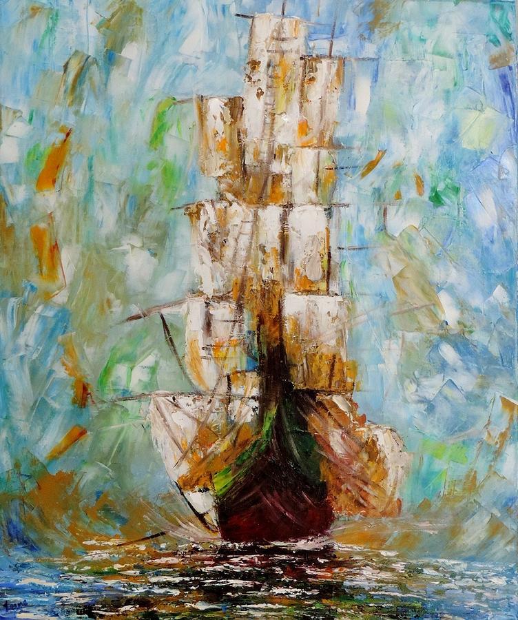 Ship Painting - Ship Of Life by Leena Kewlani