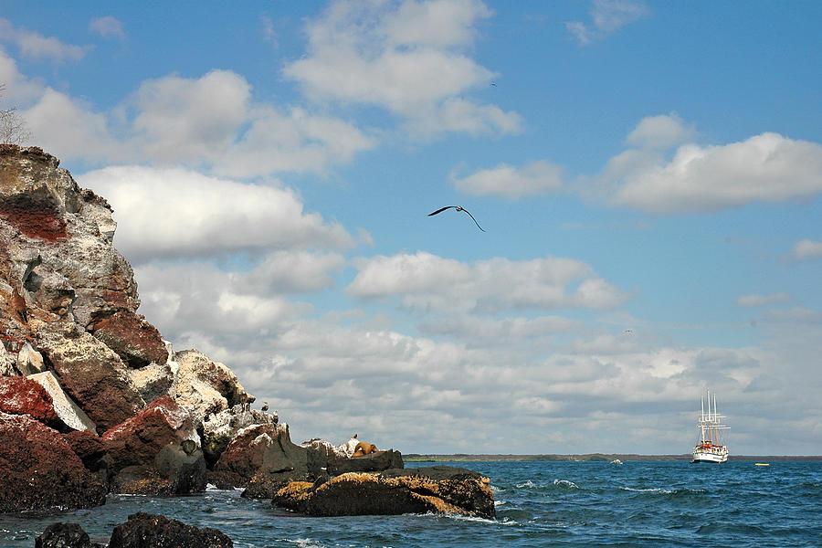 Galapagos Islands Photograph - Ship Off Shore by Alan Lenk