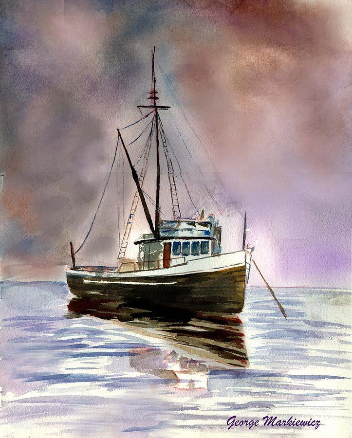 Ship Stormy Weather Print by George Markiewicz