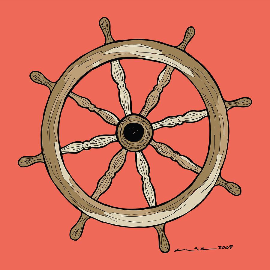 Ship Drawing - Ship Wheel by Karl Addison