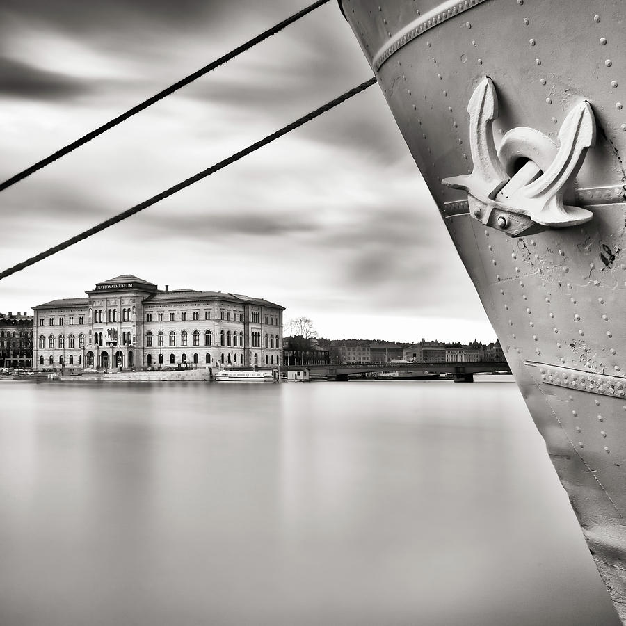 Square Photograph - Ship With Anchor In Harbor by Peter Levi