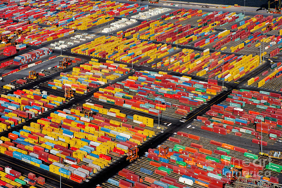 Heavy Industry Photograph - Shipping Container Yard by Phil Degginger