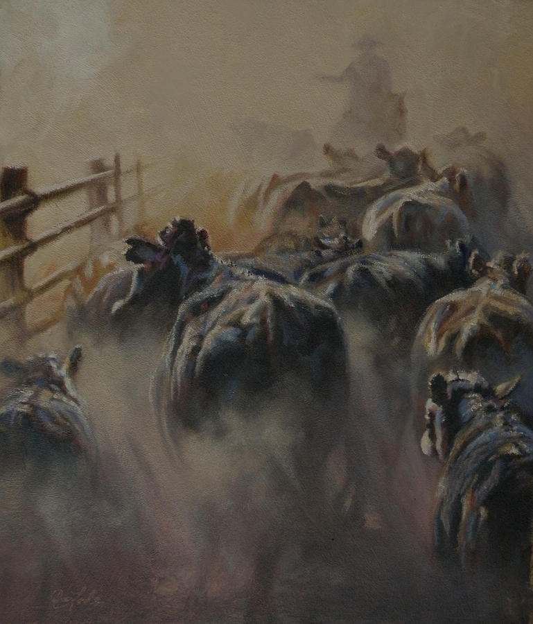 Cattle Painting - Shipping Dust by Mia DeLode