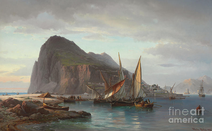 Ship Painting - Shipping Off Gibraltar, 1880 by Vilhelm Melbye