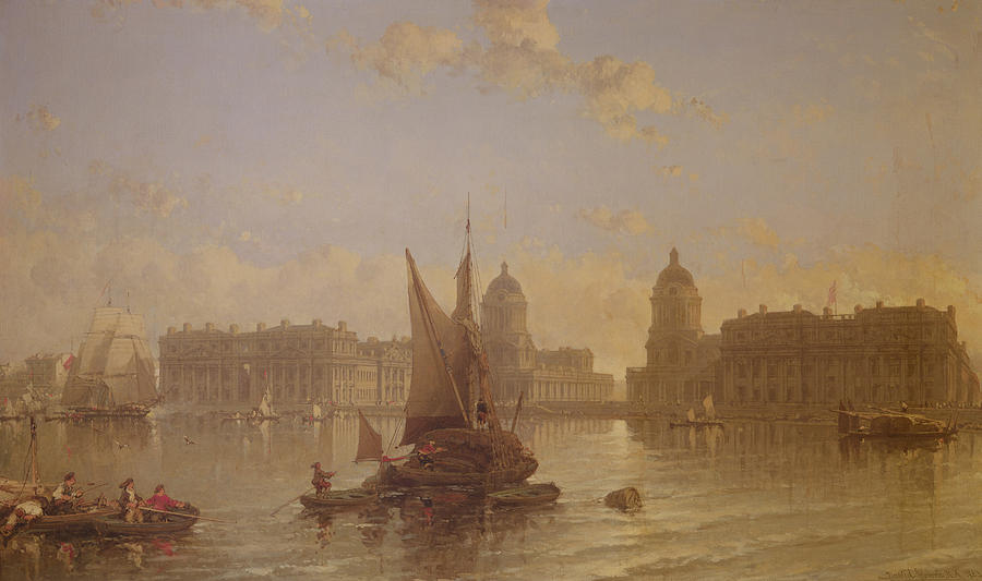 Shipping Painting - Shipping On The Thames At Greenwich by David Roberts