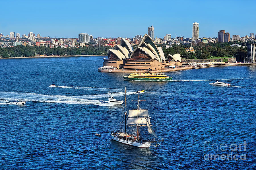 Photography Photograph - Ships And Boats Passing Opera House by Kaye Menner
