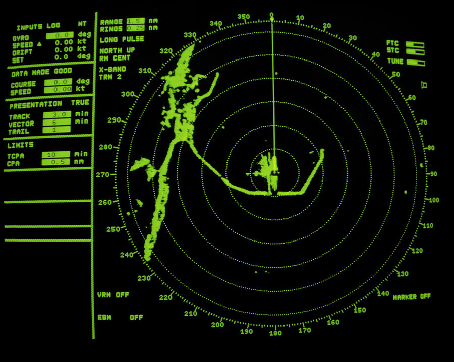 Ship's Radar Screen While In Port Photograph by David Parker