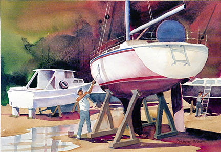 Boats Painting - Shipshapes by Richard Staat