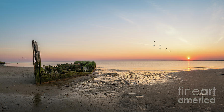 Panorama Photograph - Shipwreck Sunset Panorama  by Michael Ver Sprill