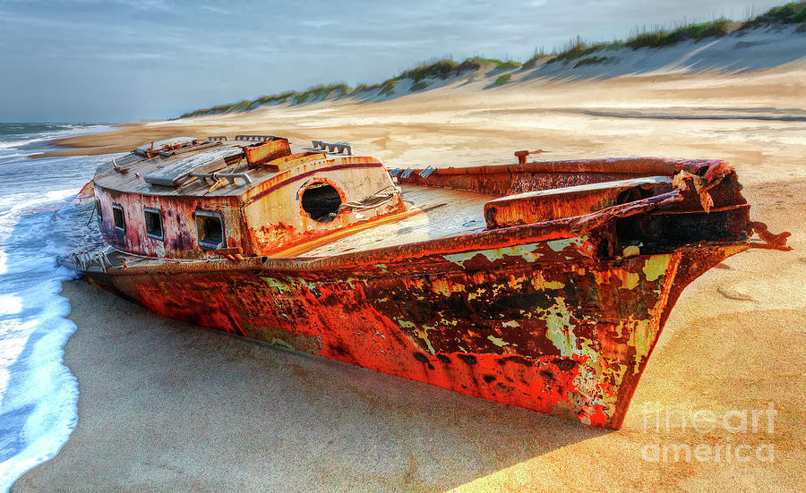 Shipwreck Photograph - Shipwrecked Boat On Outer Banks Front Side View by Dan Carmichael