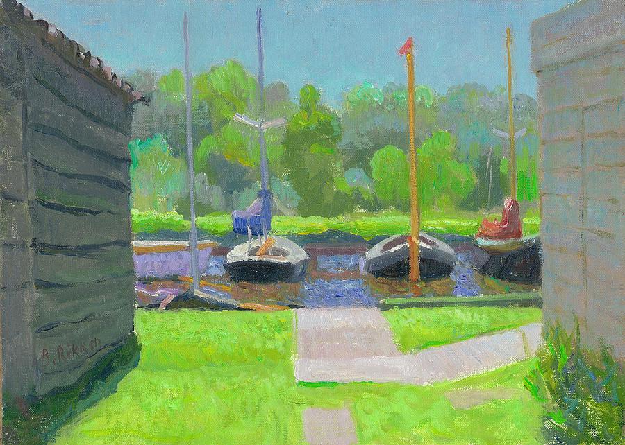 Shipyards Painting - Shipyard After The Rain  by Ben Rikken