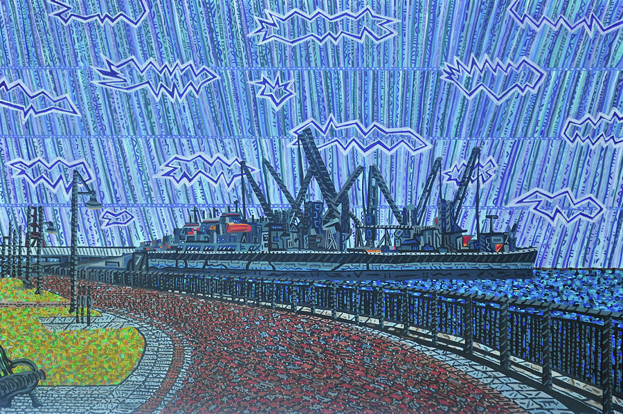 Shipyards Painting - Shipyards A Newport News by Micah Mullen