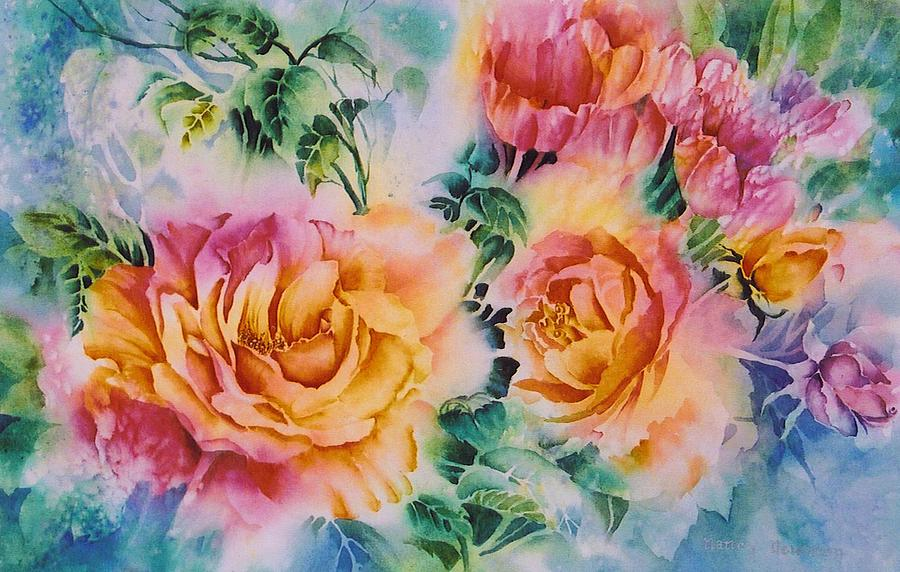 Roses Painting - Shirleys-roses by Nancy Newman