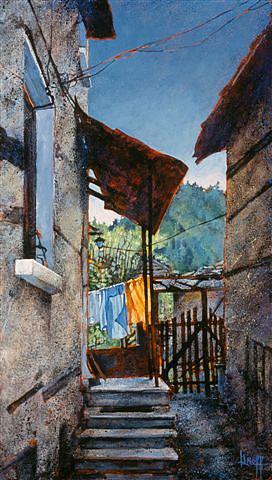 Cityscape Painting - Shiroka Laka Monday by Judy Greff