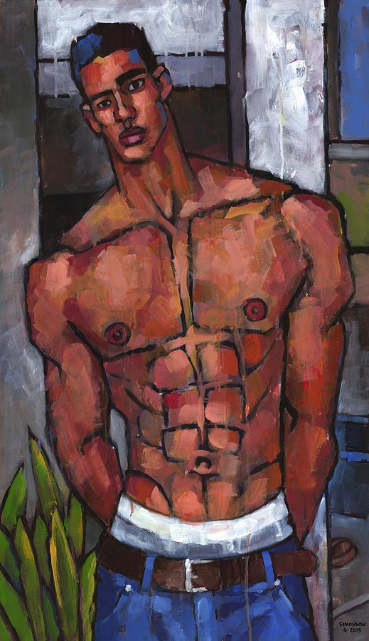 Shirtless Backyard Painting By Douglas Simonson