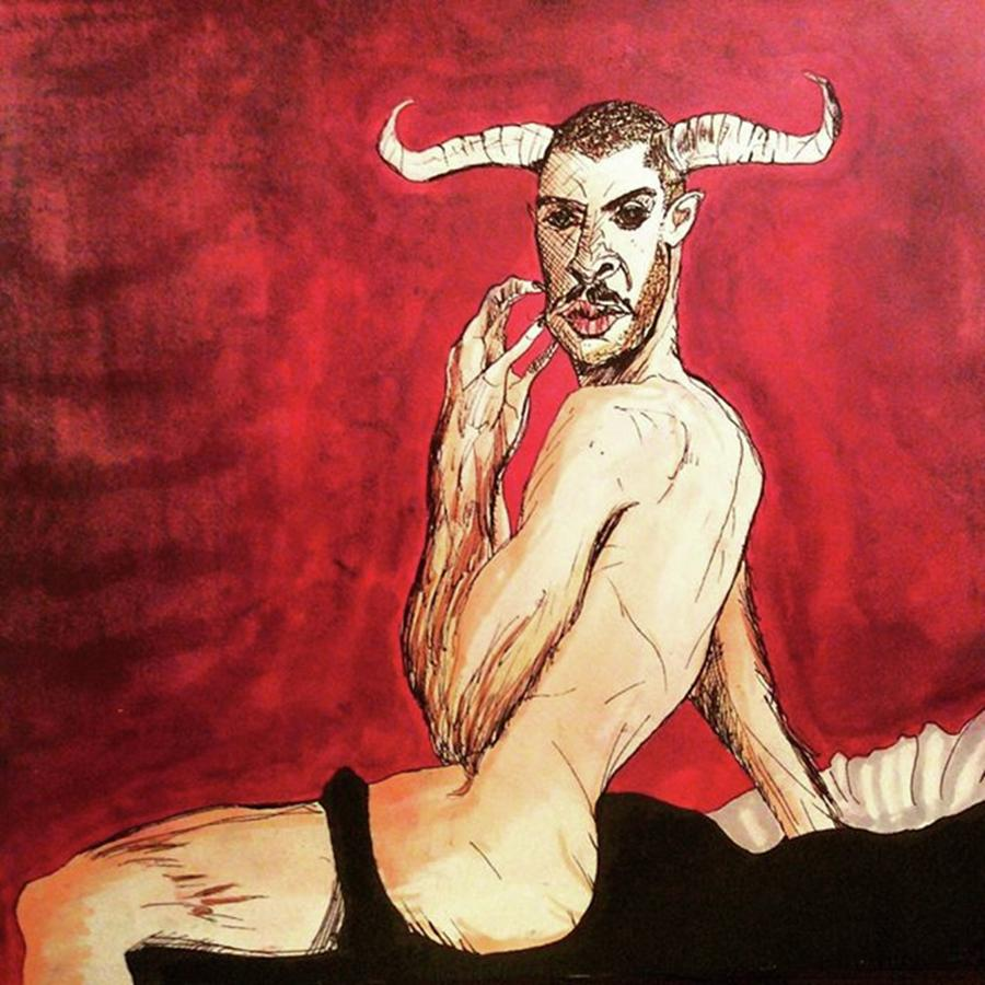 Minotaur Drawing - Living For Love by Russell Boyle