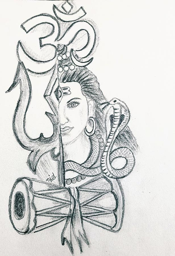 Shiva Drawing By Dolly
