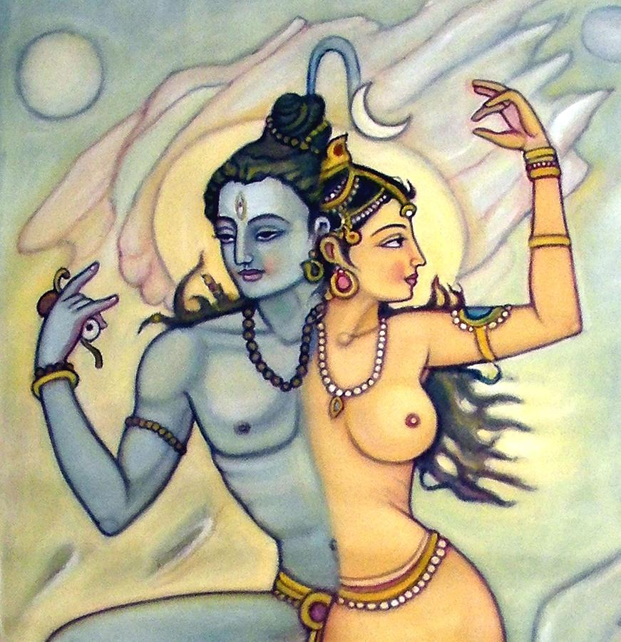 Shiva Painting - Shiva-shakti Or  Soul-nature by Upendra Ratra