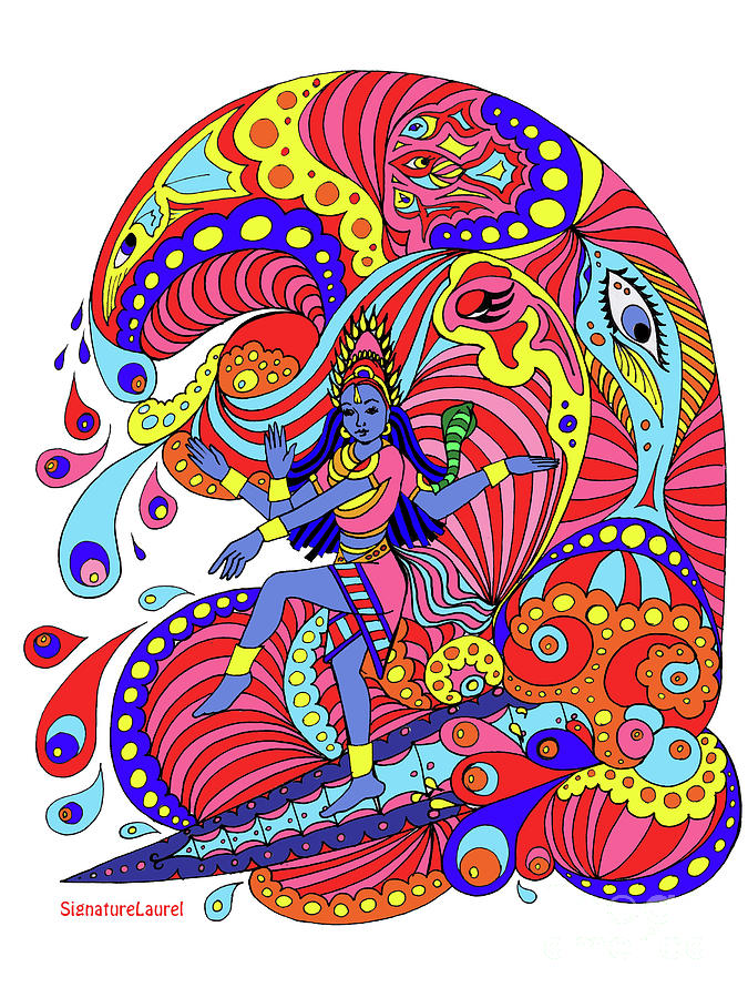Surfer Girl Drawing - Shiva Surfing by Signature Laurel