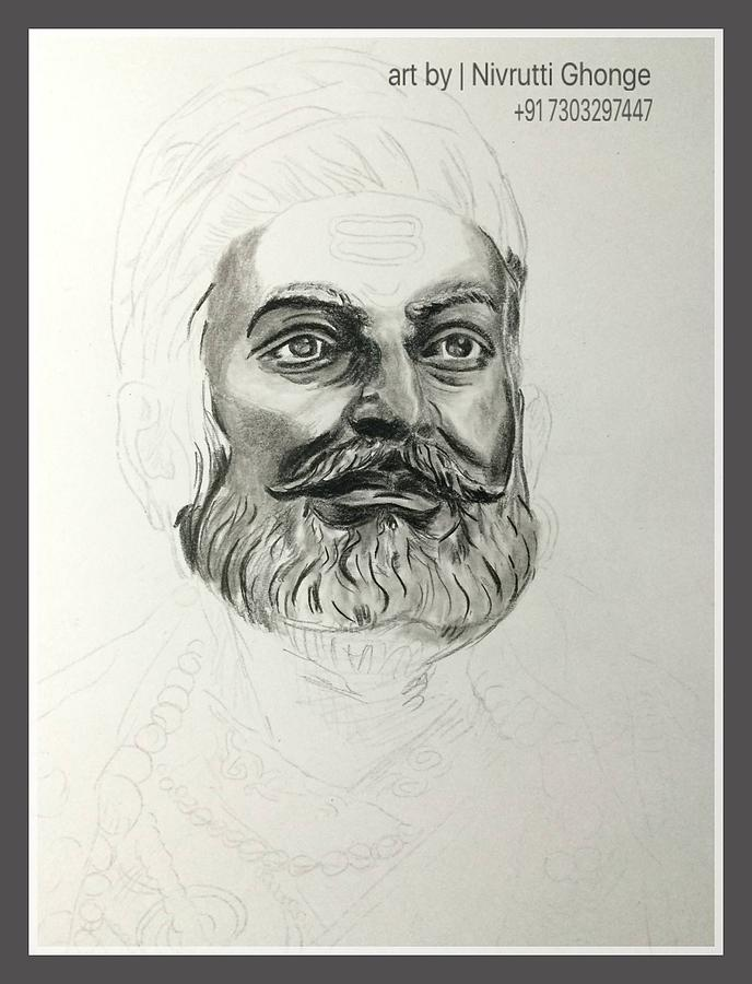 Shivaji maharaj drawing by nivrutti ghonge