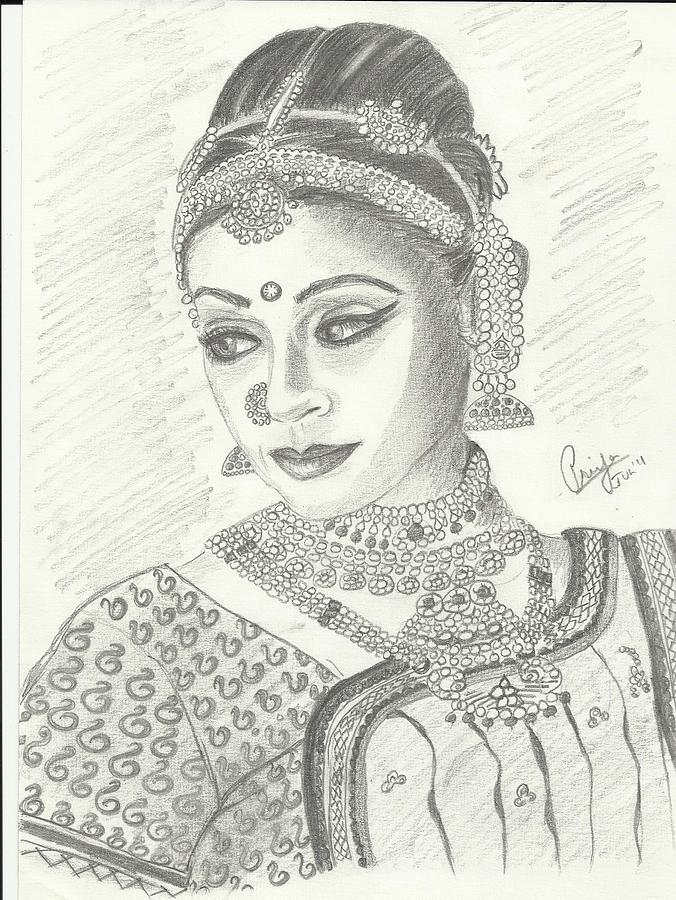 Shobana Chandrakumar-bharatanatyam Dancer Drawing by Priya ...