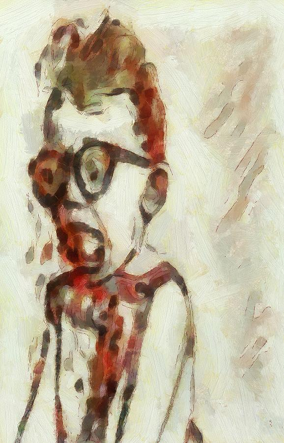 Shocked Painting - Shocked Scared Screaming Boy With Curly Red Hair In Glasses And Overalls In Acrylic Paint As A Loose by MendyZ